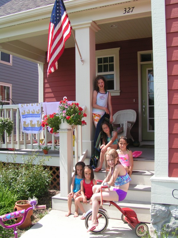 Girls on porch